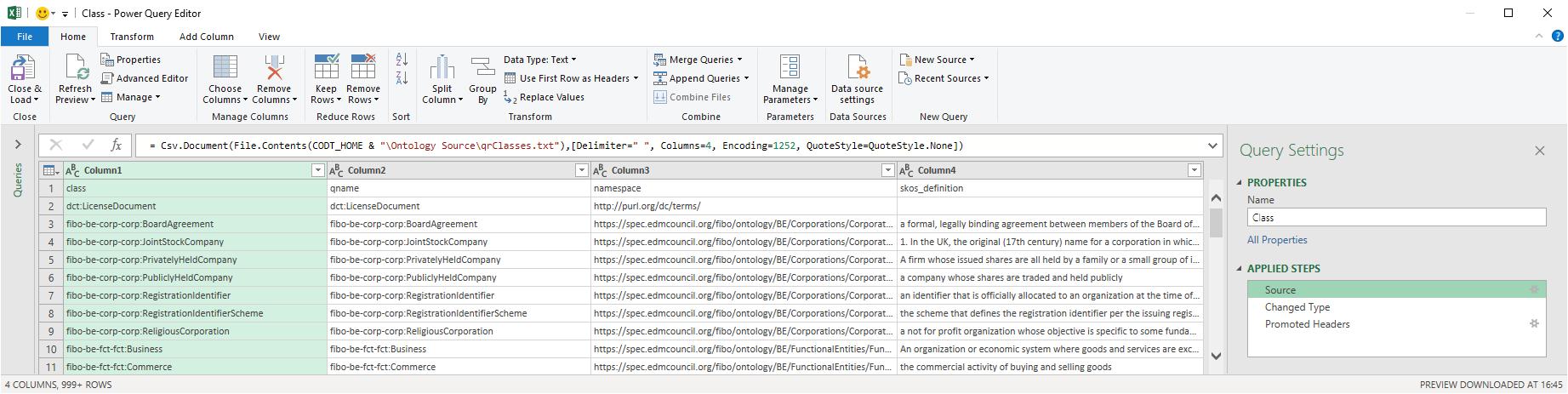 A Power Query screenshot of the Ontology Metadata Set queries.