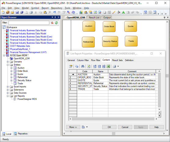 CODT Reverse example - Open MDM data model
