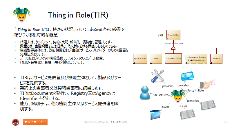 Semantics for Japanese Finance Users slide 22 - Thing in Role (TIR)