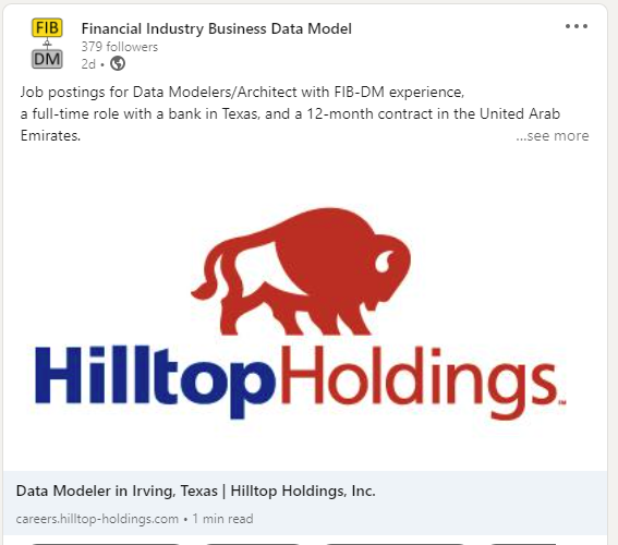 Hilltop Holdings FIB-DM Modeler job (LinkedIn snippet)