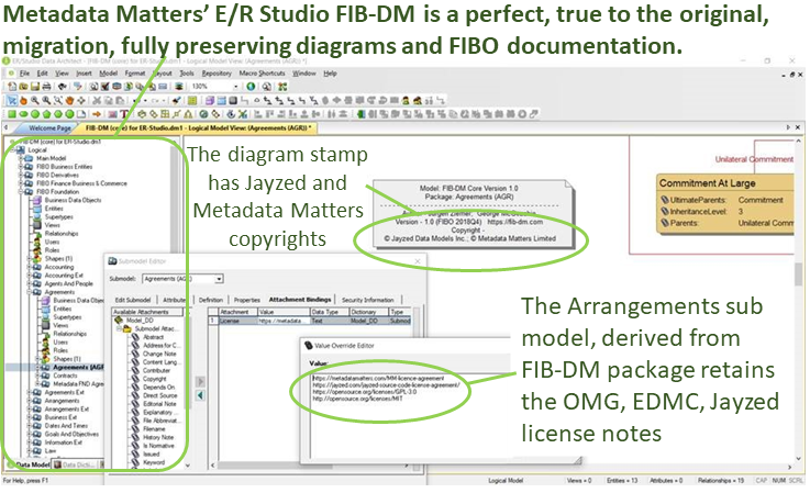 FIB-DM in ER Studio annotated screenshot